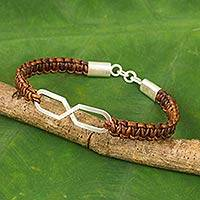 Leather and sterling silver bracelet, 'Infinite Friendship in Brown'