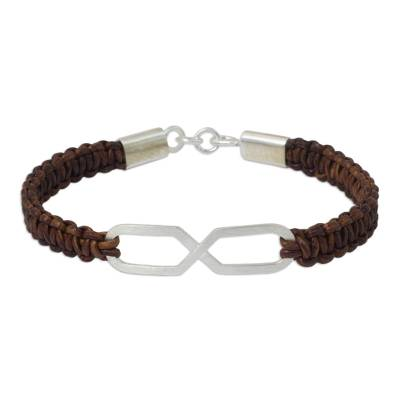 Infinity Symbol Pendant Bracelet on Brown Leather Wristband