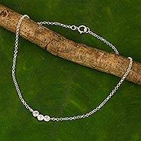 Blue topaz anklet, 'Sky Walk' - Blue Topaz and Sterling Silver Anklet from Thailand