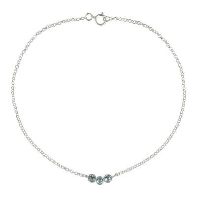 Blue Topaz and Sterling Silver Anklet from Thailand