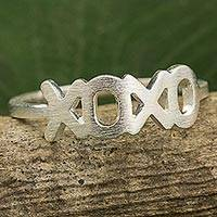 Sterling silver band ring, 'Hugs and Kisses' - Thai Artisan Crafted Band Ring in Brushed Sterling Silver