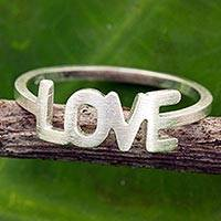 Sterling silver band ring, 'Love All the Time' - Thai Love Ring Handcrafted Brushed Sterling Silver