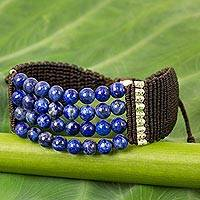 Lapis lazuli and silver beaded cord bracelet, 'The Deep Sea'