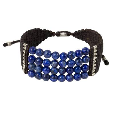 Lapis lazuli and silver beaded cord bracelet, 'The Deep Sea' - Lapis Lazuli Beaded Cord Bracelet with Silver Accent