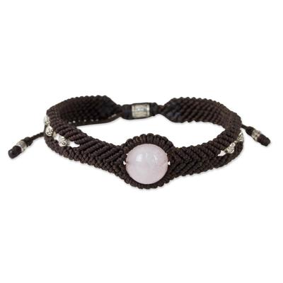 Rose quartz braided bracelet, 'Pink Neptune' - Handmade Rose Quartz Braided Bracelet with Silver Accents