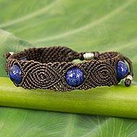 Lapis lazuli braided bracelet, 'Blue Sugar' - Lapis Lazuli Braided Bracelet with Silver Accents