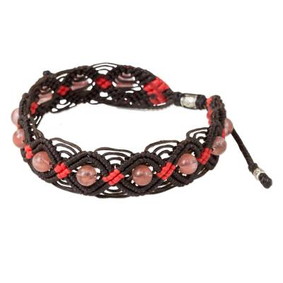 Glass bead braided bracelet, 'Peach Roses' - Glass Bead Bracelet in Peach and Red with Silver Accents