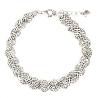 Artisan Crafted Sterling Silver Adjustable Torsade Bracelet