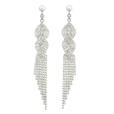 Thai Waterfall Earrings Handcrafted in Polished 925 Silver