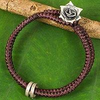 Silver flower bracelet, 'Marsala Rose' - Hill Tribe Rose Clasp on Artisan Crafted Wristband Bracelet