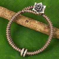 Silver flower bracelet, 'Smokey Rose' - Hill Tribe Rose Clasp on Handcrafted Grey Wristband Bracelet