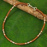 Hill tribe silver anklet, 'Wandering Brown' - Artisan Crafted Brown Anklet with Karen Hill Tribe Silver