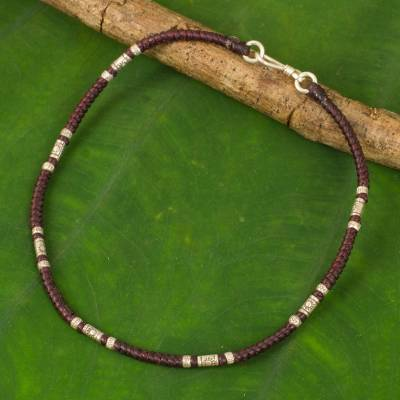 Silver anklet, 'Wandering Maroon' - Artisan Crafted Maroon Anklet with Karen Hill Tribe Silver