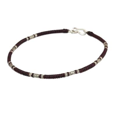 Artisan Crafted Maroon Anklet with Karen Hill Tribe Silver