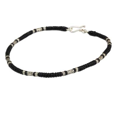 Artisan Crafted Black Anklet with Karen Hill Tribe Silver