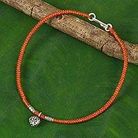 Silver flower anklet, 'Orange Jasmine' - Handmade Black Anklet with Karen Hill Tribe Flower Charm