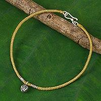 Silver flower anklet, 'Ochre Jasmine' - Karen Hill Tribe Flower Charm on Artisan Crafted Anklet
