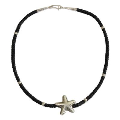 Fair Trade Fine Silver Starfish Pendant Black Knotted Cord Bracelet