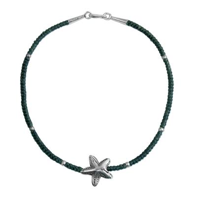 950 Silver Grey Starfish Pendant Bracelet by Thai Artisans