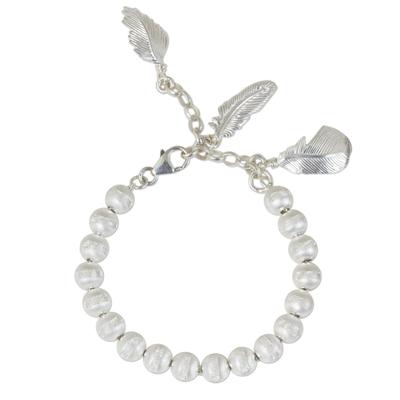 Sterling silver beaded charm bracelet, 'Feather Grace' - Artisan Crafted Sterling Silver Beaded Charm Bracelet