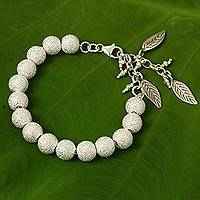 Silver beaded charm bracelet, 'Leaf Sparkle' - Hand Crafted Silver Beaded Bracelet with Leaf Charms