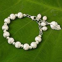 Cultured pearl and sterling silver beaded charm bracelet, 'Brilliant Leaf' - Handmade Sterling Silver and Cultured Pearl Beaded Bracelet