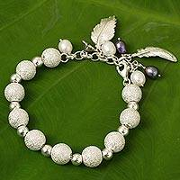 Silver and cultured pearl beaded charm bracelet, 'Graceful Breeze'