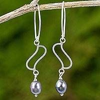 Cultured pearl dangle earrings, 'Whispering Breeze in Grey' - Thai Cultured Pearl and Sterling Silver Dangle Earrings
