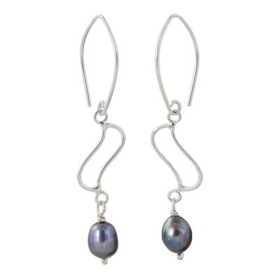 Thai Cultured Pearl and Sterling Silver Dangle Earrings