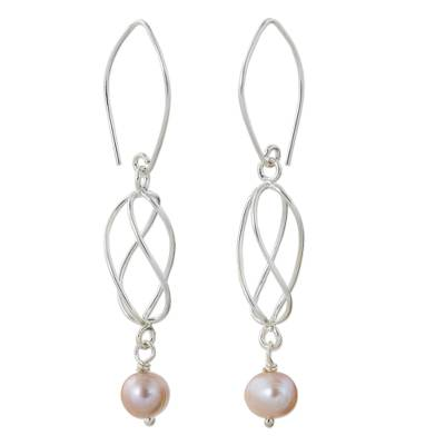 Pink Cultured Pearl and Sterling Silver Dangle Earrings