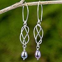 Cultured pearl dangle earrings, 'Soft Whisper in Grey' - Handmade Grey Pearl and Sterling Silver Dangle Earrings