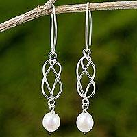 Cultured pearl and sterling silver dangle earrings, 'Soft Whisper in White' - Hand Crafted White Pearl and Sterling Silver Dangle Earrings
