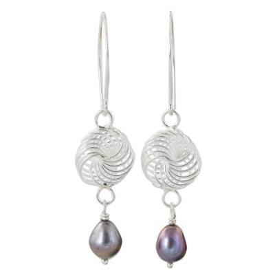 Handmade Sterling Silver and Grey Pearl Dangle Earrings