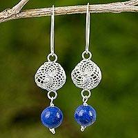 Lapis lazuli and sterling silver dangle earrings, 'Snowfall in Blue'