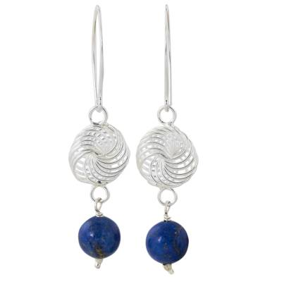 Lapis lazuli and sterling silver dangle earrings, 'Snowfall in Blue' - Lapis Lazuli and Sterling Silver Filigree Dangle Earrings