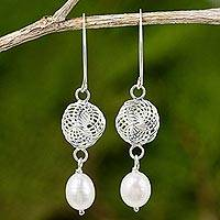 Cultured pearl and sterling silver dangle earrings, 'Snowfall in White' - Handmade Cultured Pearl and Sterling Silver Dangle Earrings