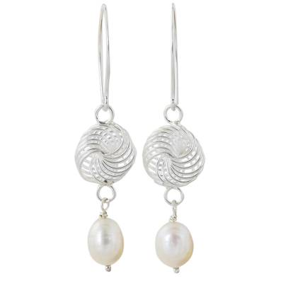 Handmade Cultured Pearl and Sterling Silver Dangle Earrings