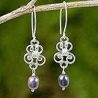Cultured pearl and sterling silver dangle earrings, 'Enchanted Wind in Grey'