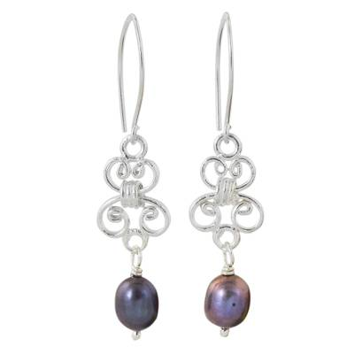 Cultured pearl and sterling silver dangle earrings, 'Enchanted Wind in Grey' - Hand Crafted Grey Pearl and Sterling Silver Dangle Earrings