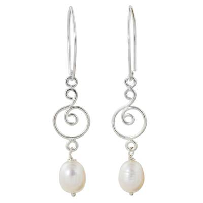 Handmade Sterling Silver and White Pearl Dangle Earrings