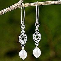 Cultured pearl dangle earrings, 'Mesmerize in White' - Hand Crafted Cultured Pearl and Sterling Silver Earrings