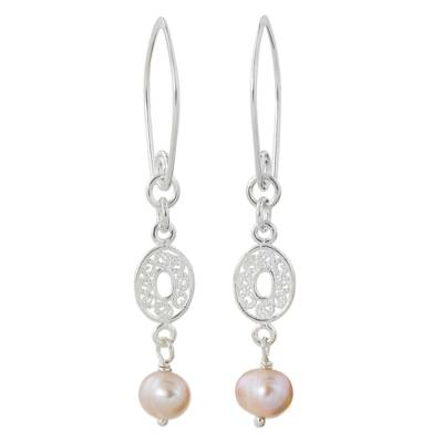 Cultured pearl dangle earrings, 'Mesmerize in Pink' - Handmade Pink Pearl and Sterling Silver Dangle Earrings