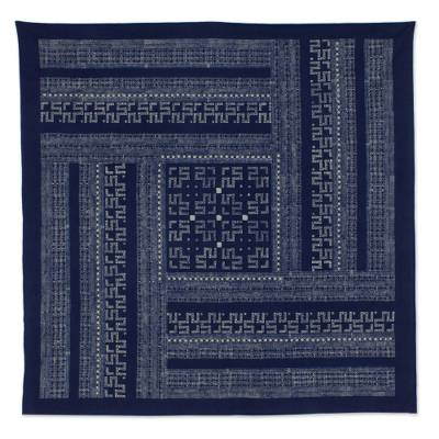 Cotton batik tablecloth, 'Hmong Lace' (59x59) - Hill Tribe Artisan Crafted Cotton Batik Tablecloth (59x59)