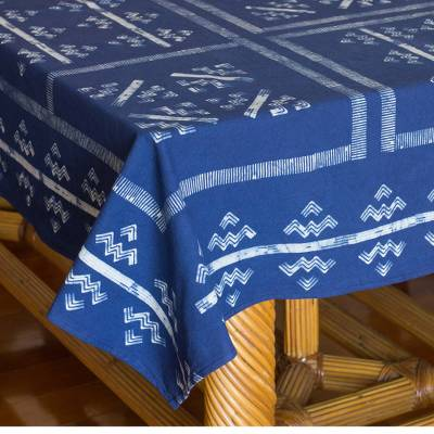 Cotton batik tablecloth, 'Mountains & Rivers'  - Hill Tribe Artisan Blue Batik Tablecloth (57x59)