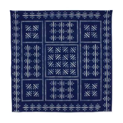 Cotton batik tablecloth, 'Mountains & Rivers' (57x59) - Hill Tribe Artisan Blue Batik Tablecloth (57x59)