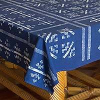 Cotton batik tablecloth, 'Mountains & Rivers' - Thai Hill Tribe Blue Cotton Batik Tablecloth (57x79)