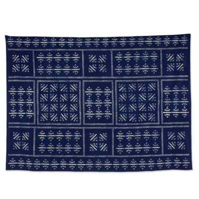 Cotton batik tablecloth, 'Mountains & Rivers' (57x79) - Thai Hill Tribe Blue Cotton Batik Tablecloth (57x79)