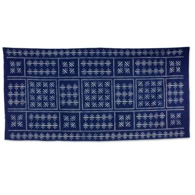 Cotton batik tablecloth, 'Hill Tribe Zigzag' (59x118) - Thai Hill Tribe Handcrafted Batik Tablecloth (59x118)