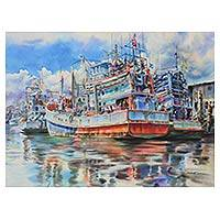 'Chaao-Lay Way of Life II' (2014) - Painting of Thai Fishing Boats in Realistic Watercolors