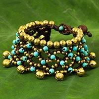 Calcite beaded wristband bracelet, 'Bohemian Voice' - Brass Bells and Turquoise Color Gems on Handcrafted Bracelet
